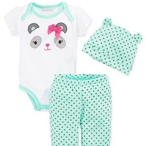 Little Panda Baby Girl Outfit 6 or 9 Months